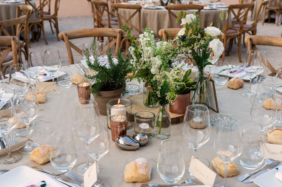 centre table cuivre et vegetal